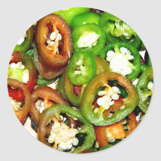 Colorful Jalapeno Pepper Slices Round Sticker