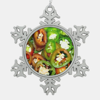 Colorful Jalapeno Pepper Slices Snowflake Pewter Christmas Ornament