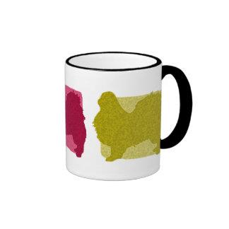 Colorful Japanese Chin Silhouettes Ringer Mug