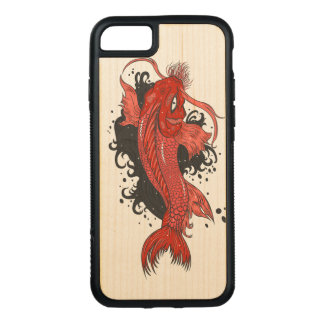 Colorful Japanese Koi Carved iPhone 7 Case