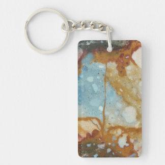 Colorful Jasper Stone Image Double-Sided Rectangular Acrylic Key Ring