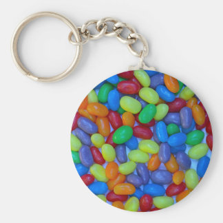 Colorful jellybeans pattern basic round button key ring