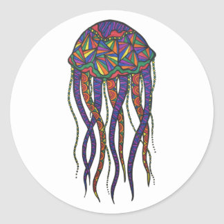 Colorful Jellyfish Classic Round Sticker