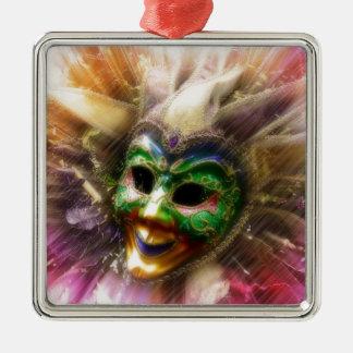 Colorful Jester Silver-Colored Square Decoration