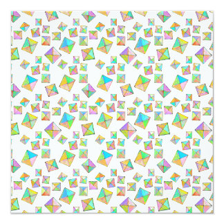 """Colorful jewel toned summer colors abstract art 5.25"""" square invitation card"""