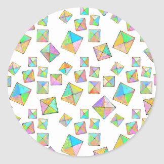 Colorful jewel toned summer colors abstract art round stickers