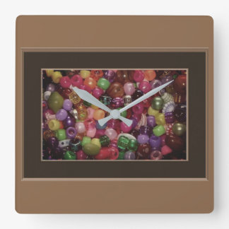 Colorful Jewelry Beads Square Wall Clock