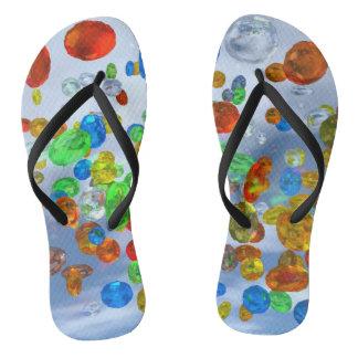 Colorful Jewels Design Flip Flops