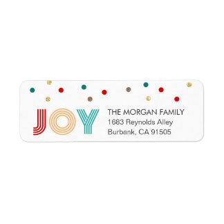 Colorful JOY Modern Confetti Dots Holiday Return Address Label