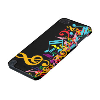 Colorful Jumbled Music Notes on Black iPod Touch (5th Generation) Case