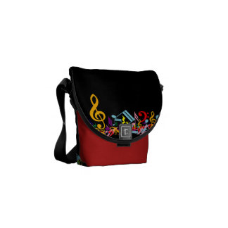 Colorful Jumbled Music Notes on Black Commuter Bag