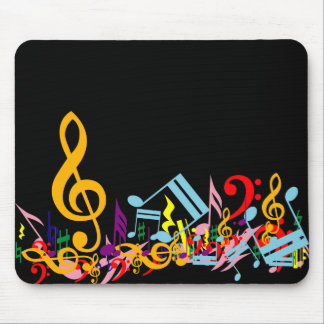 Colorful Jumbled Music Notes on Black Mouse Pad