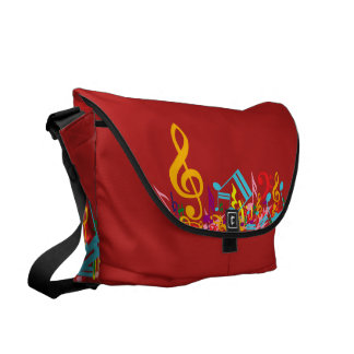 Colorful Jumbled Musical Notes Courier Bags