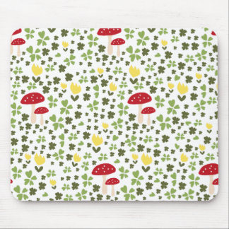 Colorful jump meadow with flowers and mushrooms mouse mat