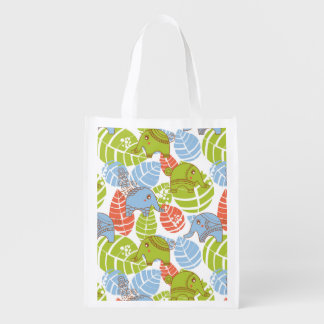 Colorful Jungle Elephants Reusable Grocery Bag
