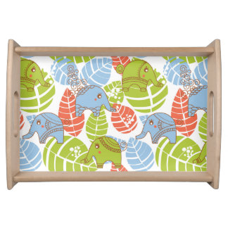 Colorful Jungle Elephants Serving Tray