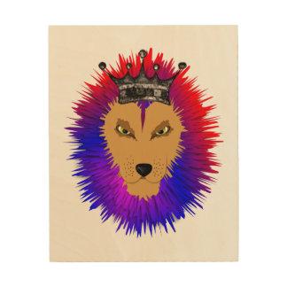 Colorful Jungle king Lion Roar Wood Wall Art