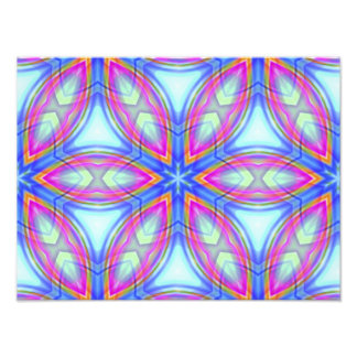Colorful kaleidoscope pattern blue & pink photo print