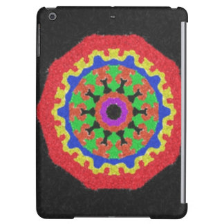 Colorful kaleidoscope pattern on a black backgroun case for iPad air