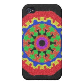 Colorful kaleidoscope pattern on a black backgroun iPhone 4 case