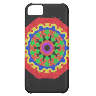 Colorful kaleidoscope pattern on a black backgroun iPhone 5C case
