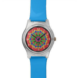 Colorful kaleidoscope pattern on a black backgroun watch