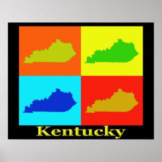 Colorful Kentucky Pop Art Map Poster