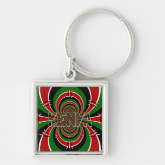 Colorful Kenyan flag design pattern art colors Silver-Colored Square Key Ring
