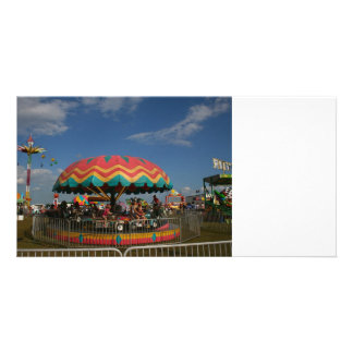 Colorful kid ride at fair personalized photo card