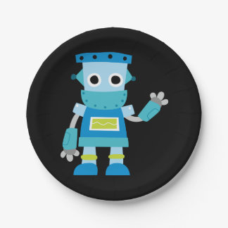 Colorful Kids Blue Robot Paper Plate