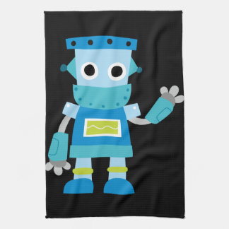 Colorful Kids Blue Robot Tea Towel
