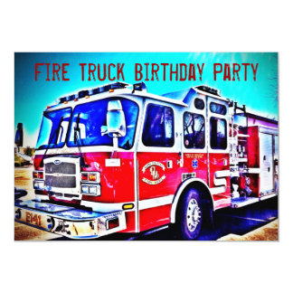 Colorful Kids Fire Truck Birthday Party Invitation