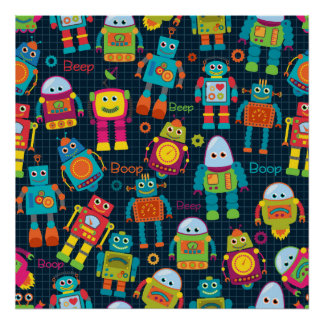 Colorful Kids Robot Poster