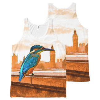Colorful Kingfisher Bird With London Skyline All-Over Print Tank Top