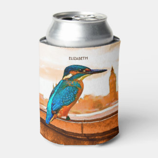 Colorful Kingfisher Bird With London Skyline Can Cooler
