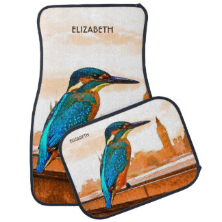 Colorful Kingfisher Bird With London Skyline Car Mat