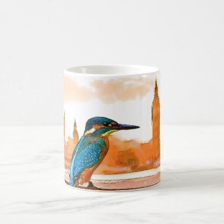 Colorful Kingfisher Bird With London Skyline Coffee Mug