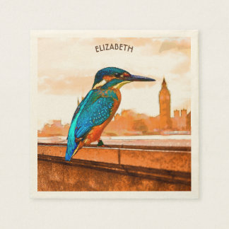 Colorful Kingfisher Bird With London Skyline Disposable Napkins