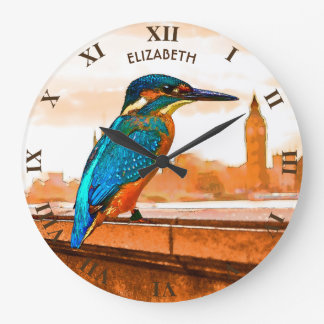 Colorful Kingfisher Bird With London Skyline Large Clock