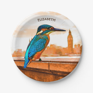 Colorful Kingfisher Bird With London Skyline Paper Plate