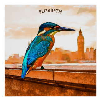 Colorful Kingfisher Bird With London Skyline Poster