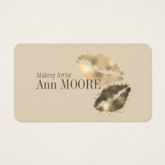 Colorful kiss lips gold splash business card