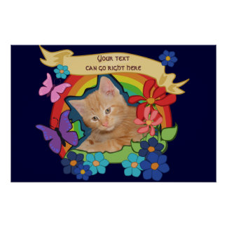 Colorful Kitten and Scroll poster