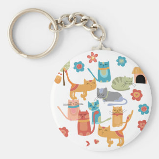 Colorful Kitty Cats Print Gifts for Cat Lovers Basic Round Button Key Ring