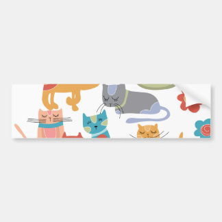 Colorful Kitty Cats Print Gifts for Cat Lovers Bumper Stickers