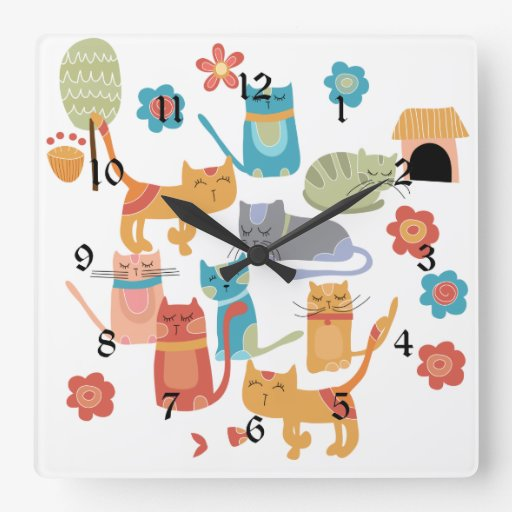 Colorful Kitty Cats Print Gifts for Cat Lovers Square Wall Clocks