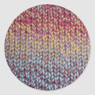 Colorful Knit Classic Round Sticker