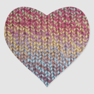 Colorful Knit Heart Sticker