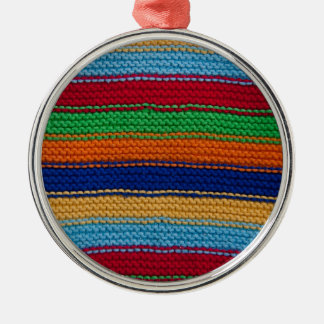 Colorful knitted stripes ornament