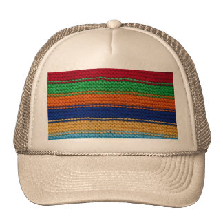 Colorful knitted stripes trucker hat